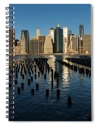 Luminous Blue Silver And Gold - Manhattan Skyline And East River Spiral Notebook