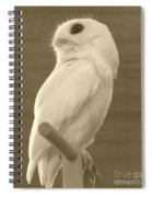 Luna The Rescued White Leucistic Eastern Screech Owl In Sepia Spiral Notebook