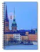 Lunar Teamwork Full Moon Rising Over Gamla Stan In Stockholm Spiral Notebook