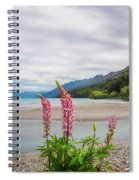 Lupin Flowers In Alpine Scenery At Kinloch, Nz. Spiral Notebook