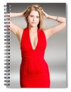 Luxury Female Fashion Model In Classy Red Dress Spiral Notebook