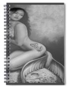 Lydia The Tattooed Mermaid In Black And White Spiral Notebook