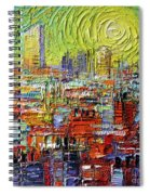 Lyon Sunrise Glow - Modern Impressionist Stylized Cityscape Spiral Notebook