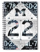 M22 Michigan Highway Symbol Recycled Vintage Great Lakes State License Plate Logo Art Spiral Notebook