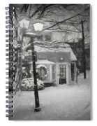 Mablehead Market Square Snowstorm Old Town Evening Black And White Painterly Spiral Notebook