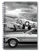 Mach 1 Mustang With P51 In Black And White Spiral Notebook