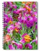 Magenta Floral Pattern Spiral Notebook