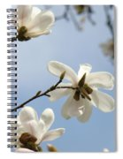 Magnolia Flowers White Magnolia Tree Spring Flowers Artwork Blue Sky Spiral Notebook
