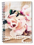 Magnolia Flowers With Pearls Spiral Notebook