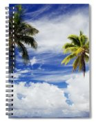 Majuro Atoll, Two Coconut Trees Lean Over Spiral Notebook