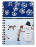 Making A Snowman At Christmas Spiral Notebook