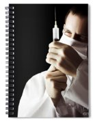 Male Doctor With Needle Syringe On Dark Background Spiral Notebook