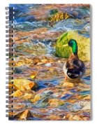 Mallard At The River - Impressions Spiral Notebook