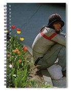 Man Alone Sitting On Curb Spiral Notebook
