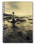 Man Gazing Out On Coastal Rocks Spiral Notebook