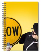 Man Holding Slow Sign During Adverse Conditions Spiral Notebook
