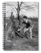 Man Retrieving Golf Ball From Tree Spiral Notebook