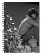 Man Sitting Along Curb  Spiral Notebook