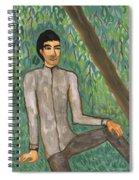 Man Sitting Under Willow Tree Spiral Notebook