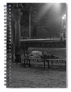 Man Sleeping On Bench Spiral Notebook