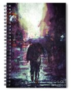 Man Walking Under Umbrella Spiral Notebook