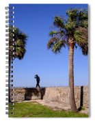 Man With A Hat On The Wall With Palm Trees In Saint Augustine Fl Spiral Notebook