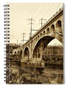 Manayunk Bridge Across The Schuylkill River In Sepia Spiral Notebook