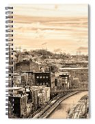 Manayunk In March - Canal View In Sepia Spiral Notebook