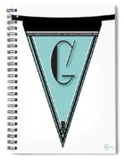 Pennant Deco Blues Banner Initial Letter G Spiral Notebook