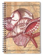 Map And Shells Spiral Notebook