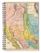 Map Of California New Mexico Texas  1849 Spiral Notebook