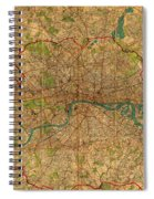 Map Of London England United Kingdom Vintage Street Map Schematic Circa 1899 On Old Worn Parchment  Spiral Notebook