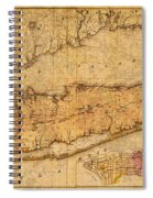 Map Of Long Island New York State In 1842 On Worn Distressed Canvas  Spiral Notebook