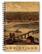 Map Of Louisville Kentucky Vintage Birds Eye View Aerial Schematic On Old Distressed Canvas Spiral Notebook
