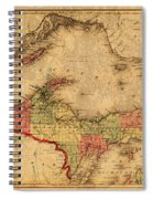 Map Of Michigan Upper Peninsula And Lake Superior Vintage Circa 1873 On Worn Distressed Canvas  Spiral Notebook