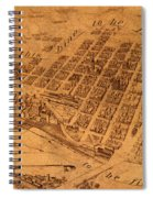 Map Of Minneapolis Minnesota Vintage Birds Eye View Aerial Schematic On Old Distressed Canvas Spiral Notebook