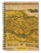 Map Of Nebraska 1954 Omaha Cornhusker State Aerial View Illustration Cartography On Worn Canvas Spiral Notebook