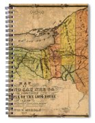 Map Of New York State Showing Original Indian Tribe Iroquois Landmarks And Territories Circa 1720 Spiral Notebook