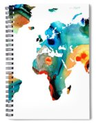 Map Of The World 11 -colorful Abstract Art Spiral Notebook