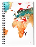 Map Of The World 7 -colorful Abstract Art Spiral Notebook