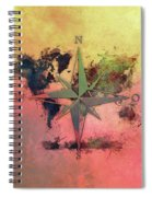 Map Of The World Wind Rose 1 Spiral Notebook