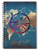 Map Of The World Wind Rose 4 Spiral Notebook