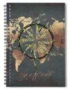 Map Of The World Wind Rose 5 Spiral Notebook