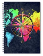Map Of The World Wind Rose 6 Spiral Notebook