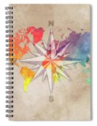 Map Of The World Wind Rose 7 Spiral Notebook