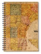 Map Of Wayne County Michigan Detroit Area Vintage Circa 1893 On Worn Distressed Canvas  Spiral Notebook