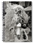 Mardi Gras Indian In Pirates Alley In Black And White Spiral Notebook