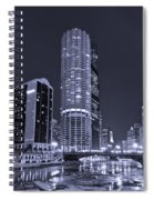 Marina City On The Chicago River In B And W Spiral Notebook