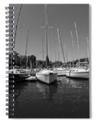 Marina On Lake Murray S C Black And White Spiral Notebook