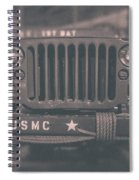 Marine Corps Jeep In Black And White Spiral Notebook